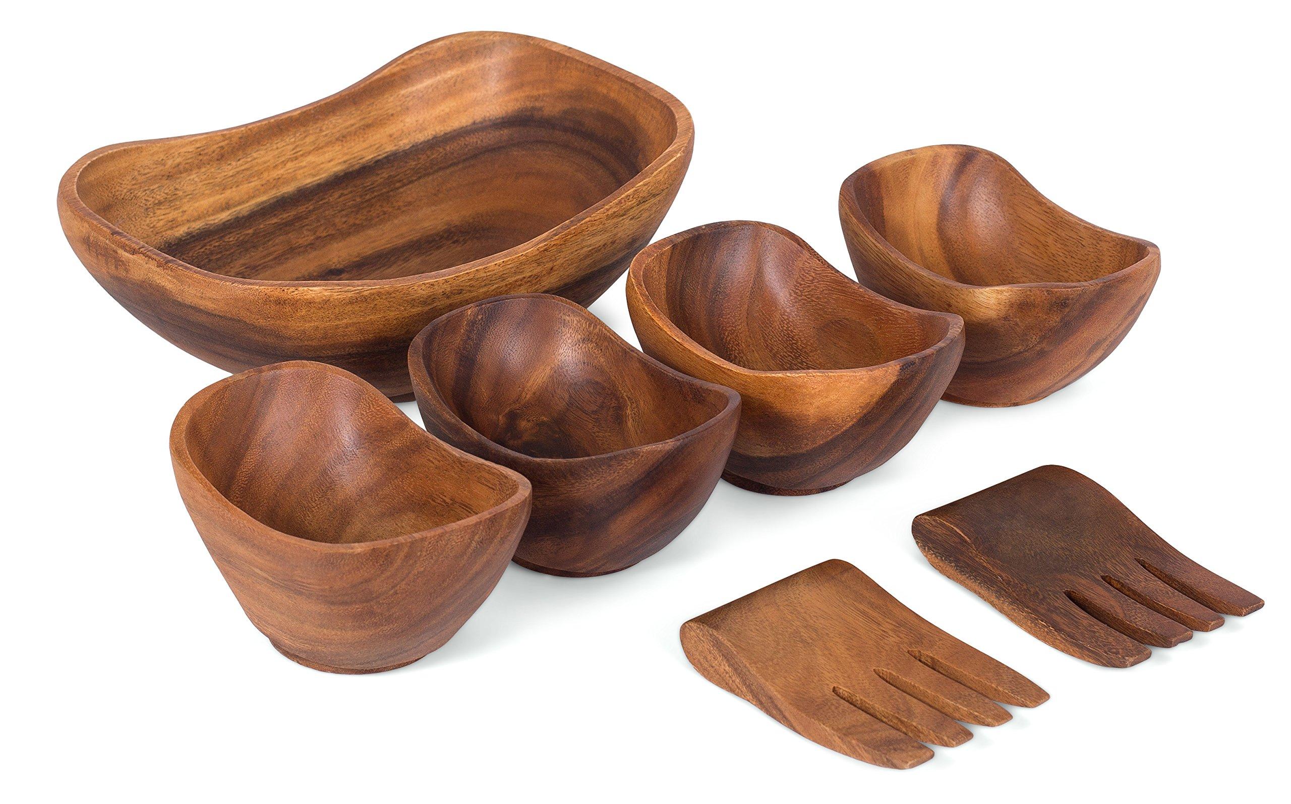 BirdRock Home Oval Boatshape Salad Bowl | Acacia Wood Server Set of 7 | Salad Hands | Small