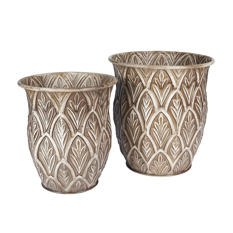 CDM product Household Essentials Etched Decorative Tall Floor Vase, Set of 2, Leaf Pattern big image