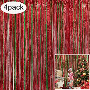 4 Pack Christmas Decoration Backdrop - 3 ft x 8 ft Foil Fringe Curtains Tinsel Curtain Party Photo Backdrop for Birthday Xmas Holiday Party Decor