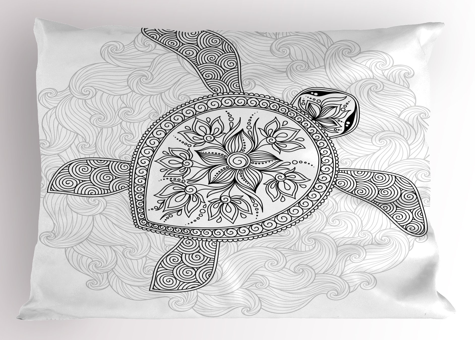 Lunarable Turtle Pillow Sham, Ethnic Motifs on an Ocean Animal with Curves and Swirls Monochrome Doodle Art, Decorative Standard King Size Printed Pillowcase, 36 X 20 inches, Black and White