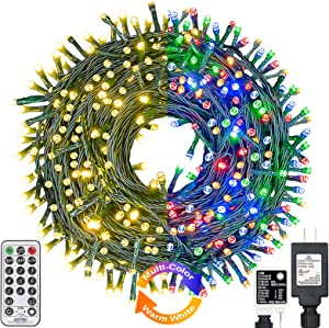 Haynery Color Changing Christmas String Lights Outdoor Indoor 11 Modes Timer Remote, 99ft 300LED Extendable Green Wire Fairy Light for Christmas Party Tree Wedding Holiday Decor Warm White Multicolor