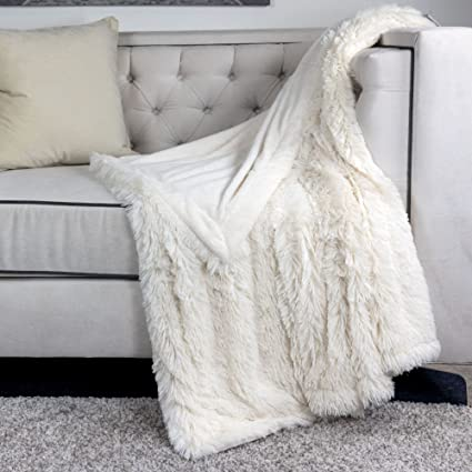 Amazon.com  Homey Cozy Faux Fur and Flannel Ivory White Throw ... 0ac5ce9eb