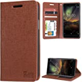 DMG Leather Flip Cover for Nokia 6.1, Wallet Flip Cover Stand Case for Nokia 6 (2018) (Texture Brown)