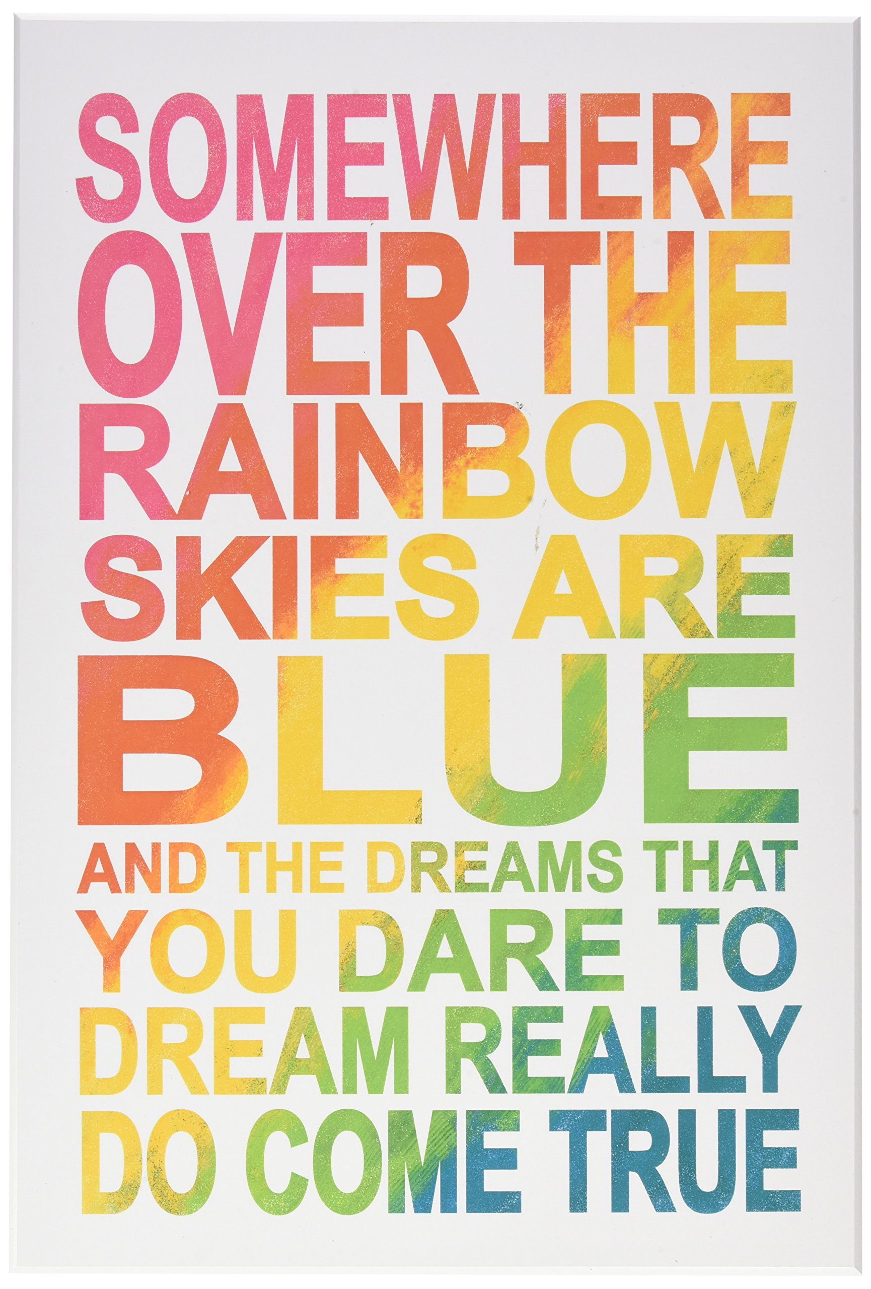 Stupell Home Décor Somewhere Over Rainbow Ombre Typog Wall Plaque Art, 10 x 0.5 x 15, Proudly Made in USA