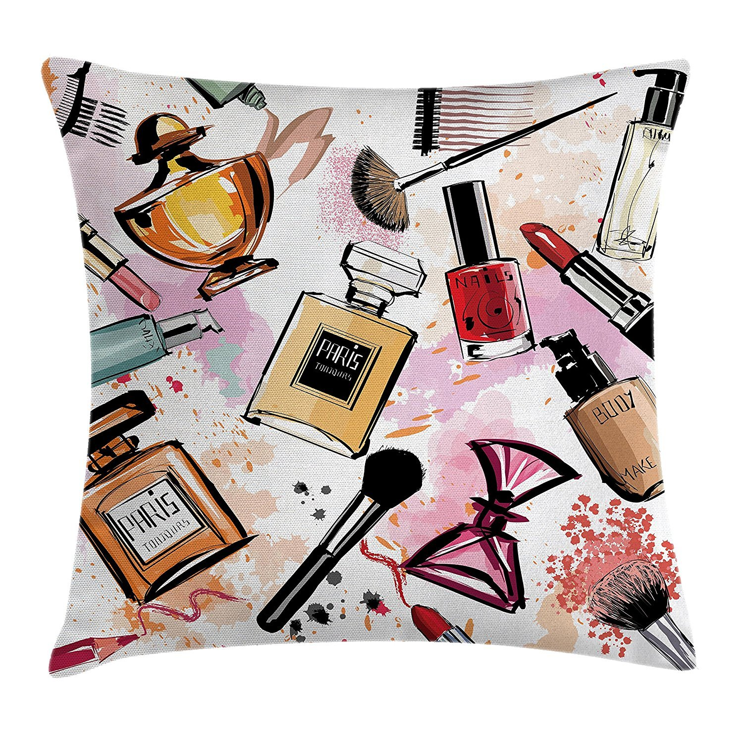 Girly Decor Throw Pillow Cushion Cover, Cosmetic Make up Theme Pattern Perfume and Lipstick Nail Polish Brush Modern City, Decorative Square Accent Pillow Case, 18 X 18 inches, Multi Cool pillow