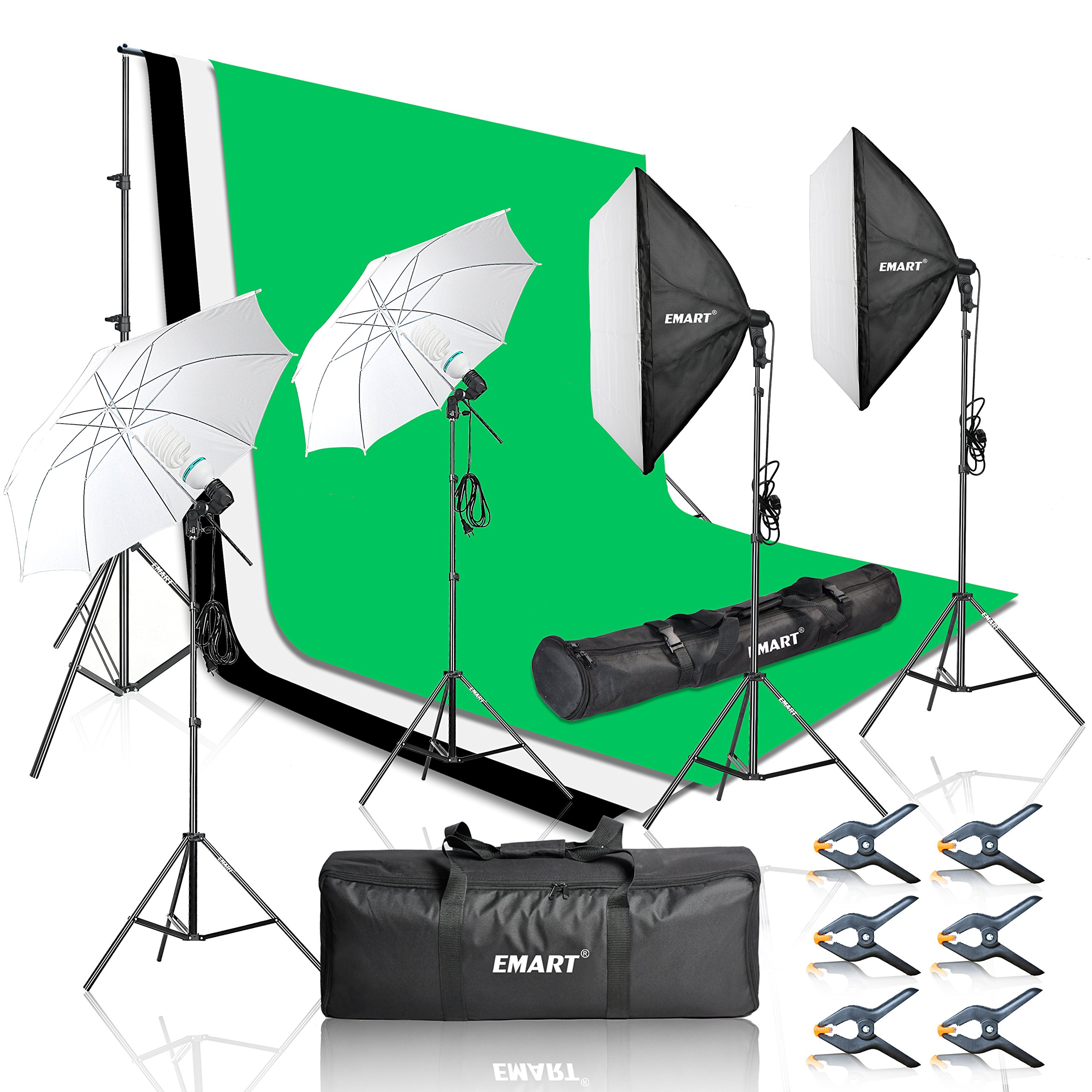 Emart 2000W Photography Video Studio Lighting Kit, Softbox Umbrella Continuous Photo Lighting, 8.5 x 10 Feet Backdrop Stand Support System, 3 Muslin Backdrops by EMART