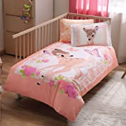 100% Organic Cotton Soft and Healthy Baby Crib Bed Duvet Cover Set 4 Pieces, Disney Bambi Baby Bedding Set