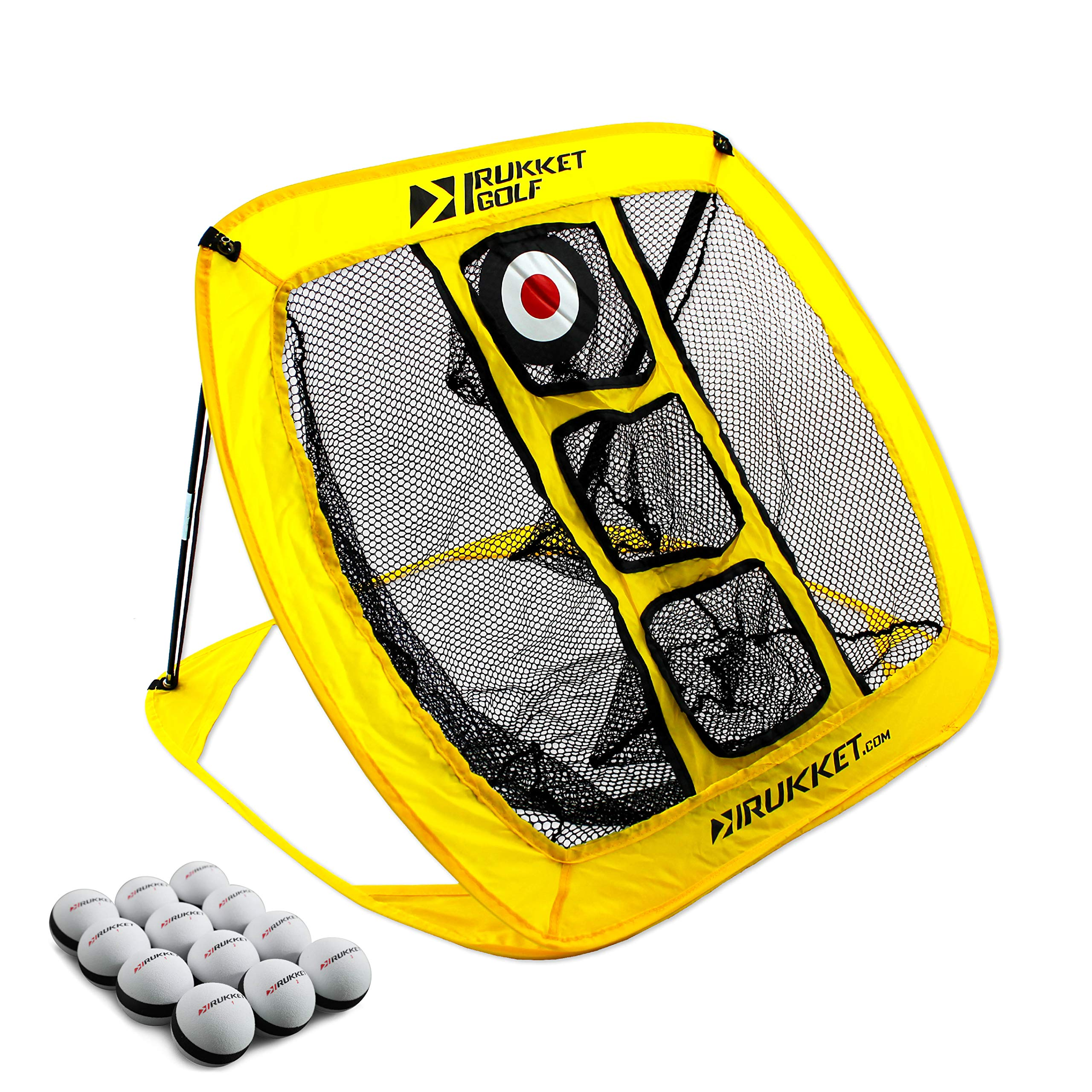 Rukket Pop Up Golf Chipping Net   Outdoor/Indoor Golfing Target Accessories and Backyard Practice Swing Game with 12 Foam Training Balls (Yellow) by Rukket Sports