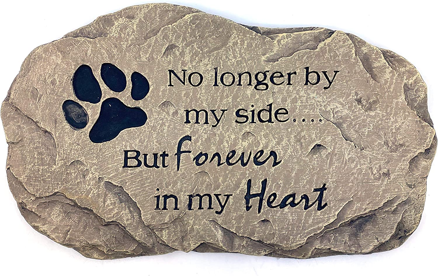 JS Gifts Pet Memorial Stone Paw Print Garden Stepping Stone Indoor/Outdoor Loss of Pet Sympathy Gift (Natural)