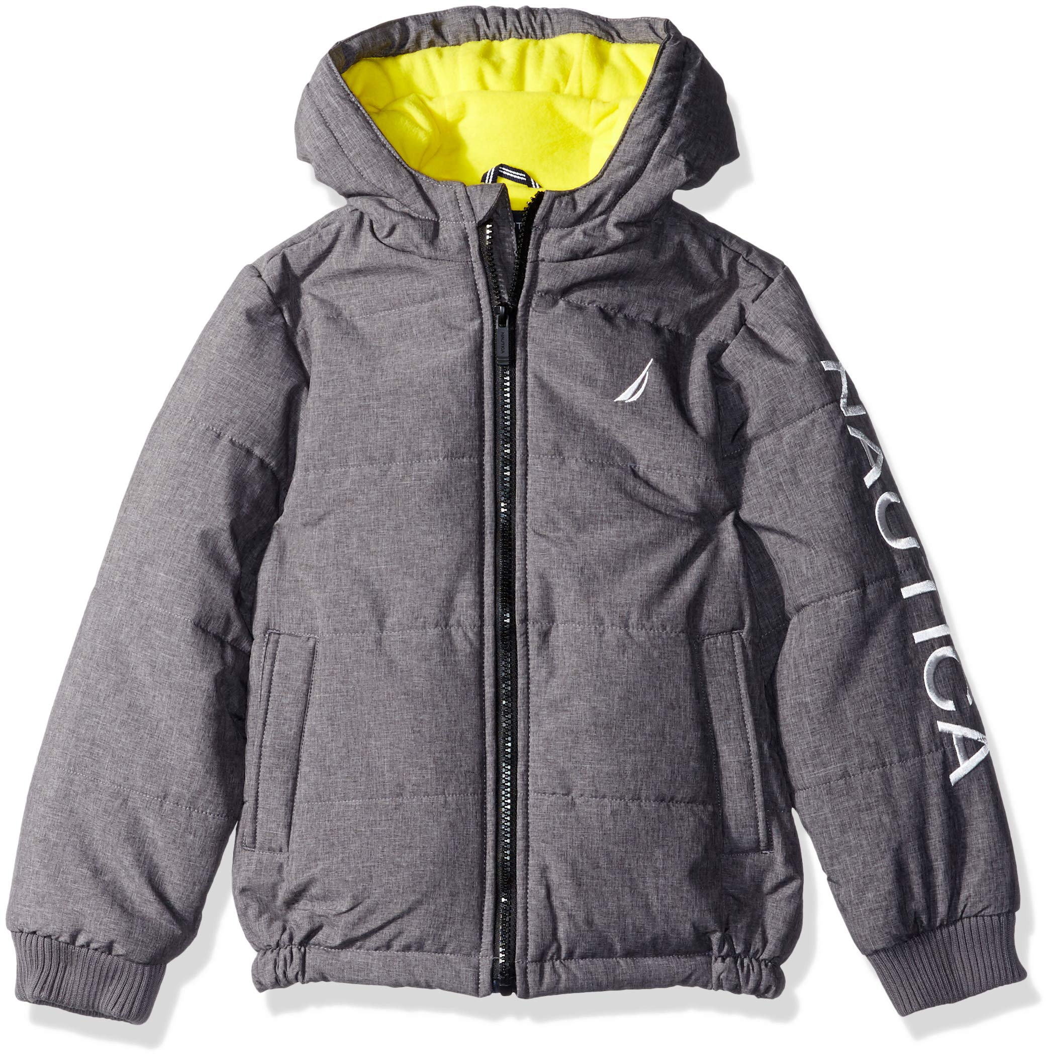 Nautica Boys' Big Water Resistant Signature Bubble Jacket with Storm Cuffs, Austin Coal Heather X-Large (18/20)