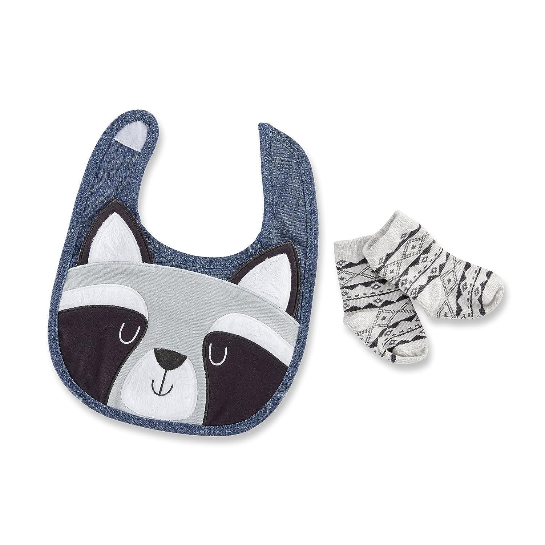 Baby Aspen Forest Friends Raccoon Bib and Socks Set, Grey/Black/Blue, 0-6 Months BA15201RC