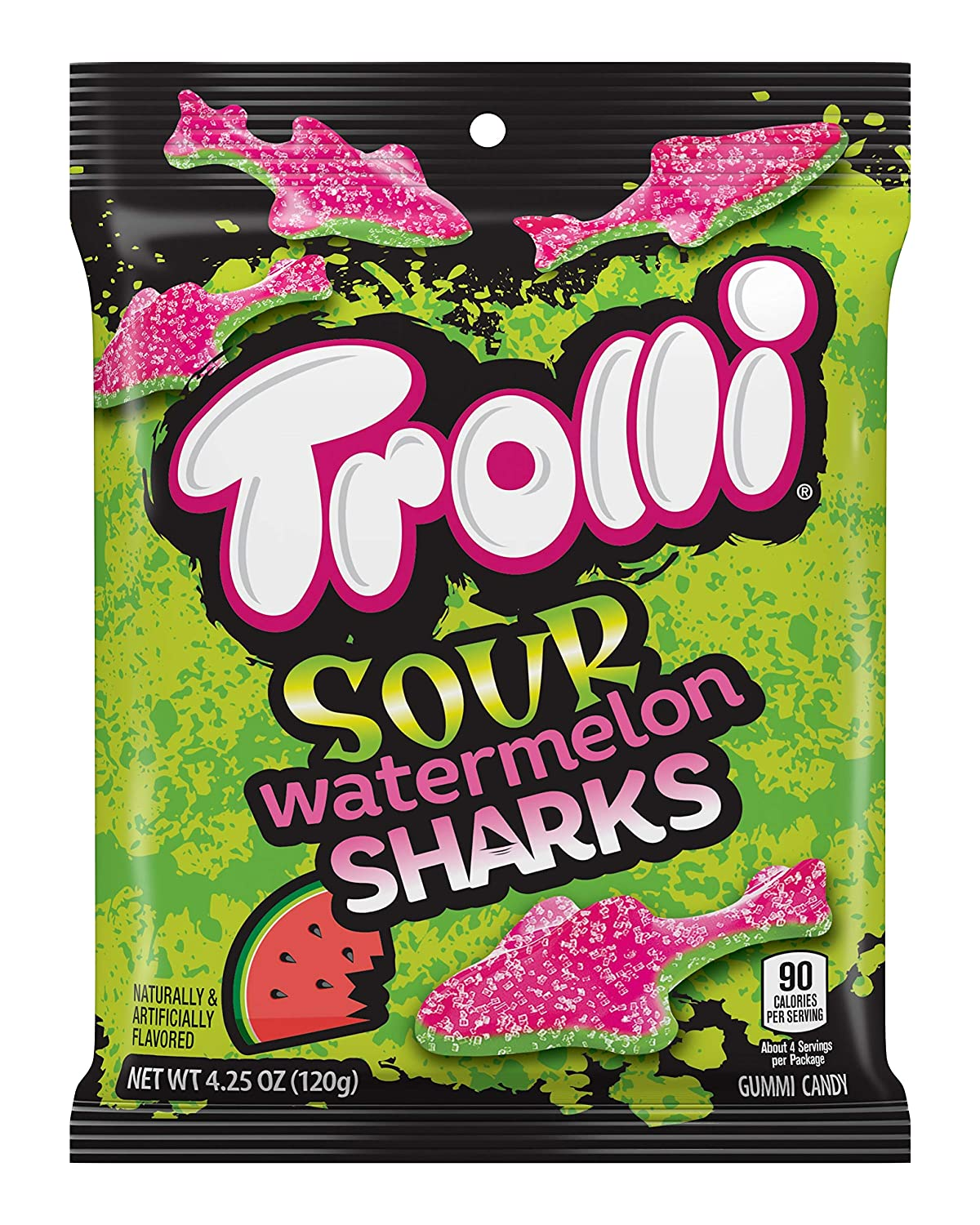 b11b616e4e07c Amazon.com : Trolli Sour Watermelon Sharks Gummy Candy, 4.25 Ounce ...