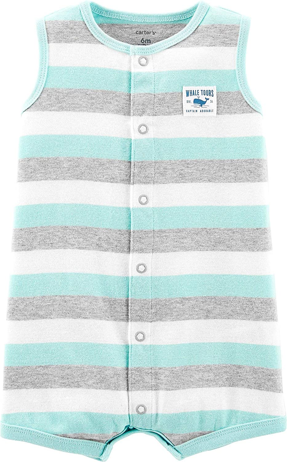 Carters Baby Boys 2-pk Stripe Whale Rompers