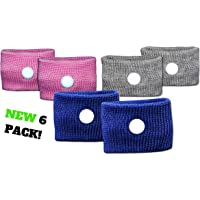 Prime Bands Travel Sickness Bands for Children & Adults - 6 Pack of Natural Anti Nausea Motion Sickness Wristbands Great for Car & Sea Sickness, Acupressure Bands Also Work for Morning Nausea Relief