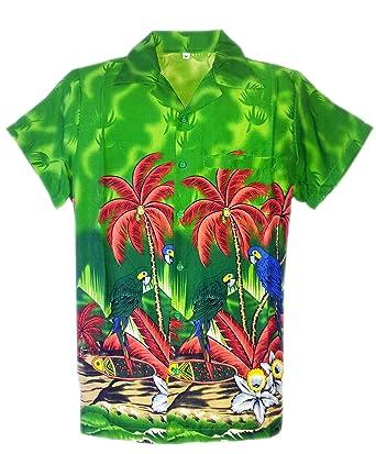 94ed569b4 MENS HAWAIIAN SHIRT STAG BEACH HAWAII ALOHA PARTY SUMMER HOLIDAY FANCY NEW  PARROT GREEN SMALL (S, GREEN): Amazon.co.uk: Clothing