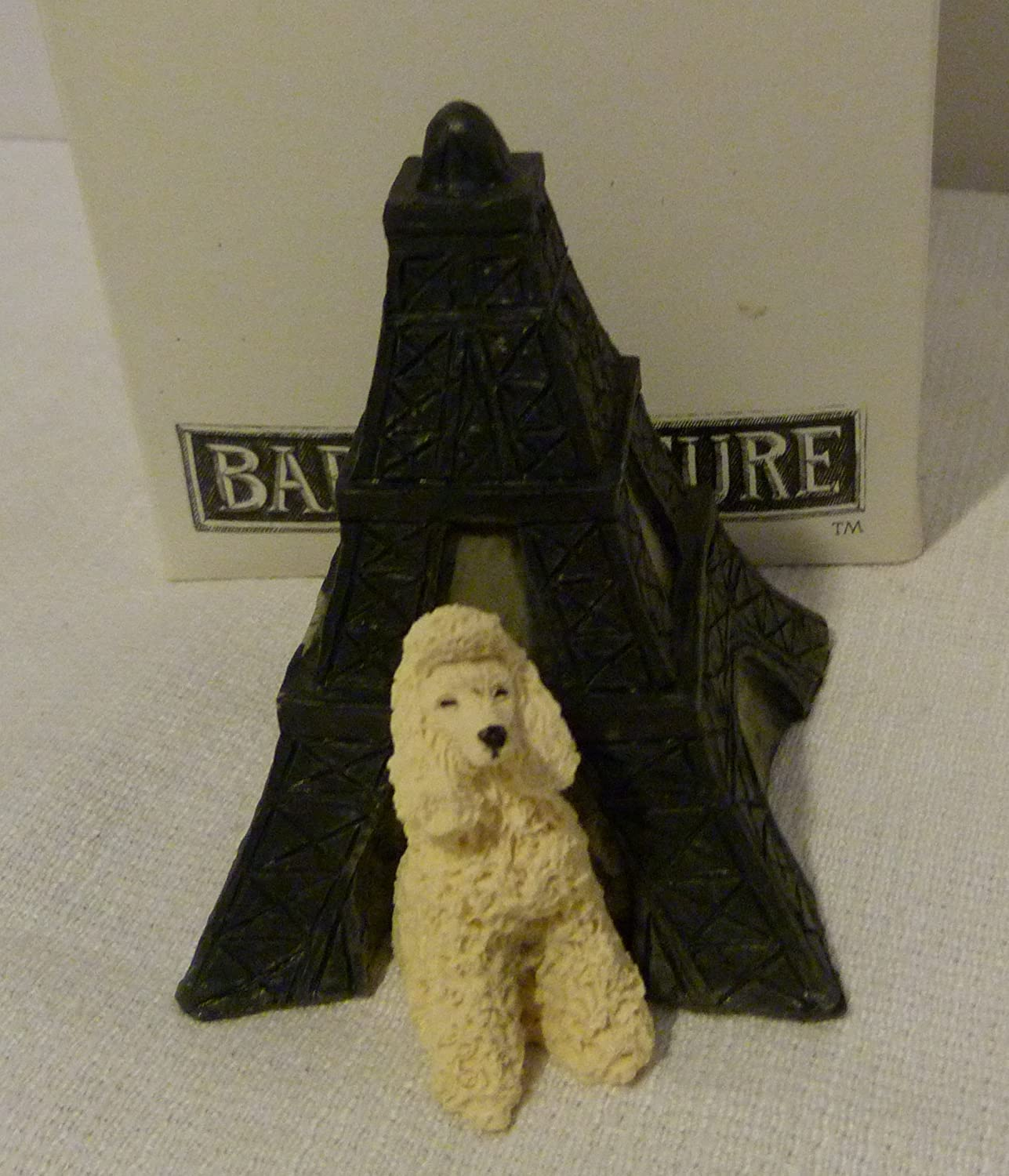 Rare Sandicast USA Barkitecture Poodle & Eiffel Tower Dog House Statue in Box