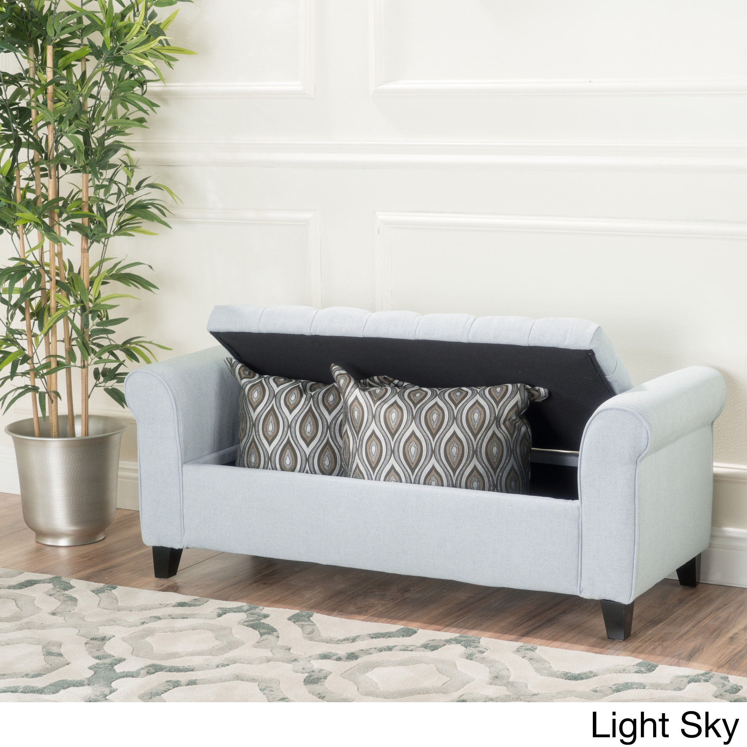 Casual Keiko Tufted Fabric Armed Fabric Wood Solid Flip Top Storage Ottoman Bench (Light Sky) by Plugtronics