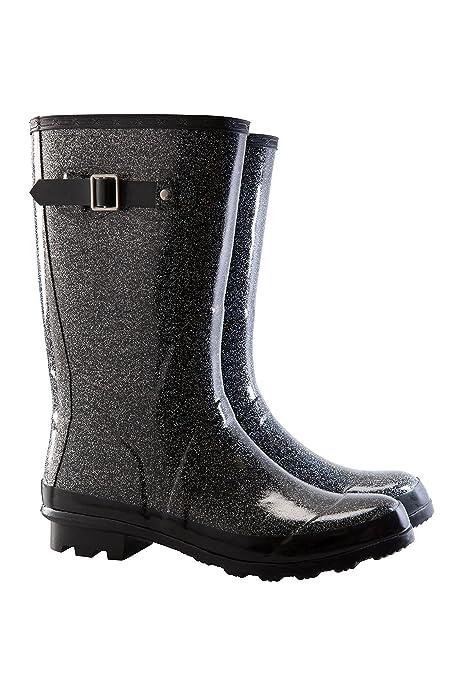 Mountain Warehouse Festival Welly - Zapatos de Goma Durables de la Lluvia, Guarnición de Jersey del Algodón, Trapo Fácil Limpio, Cargadores Cómodos de Wellington Negro 41