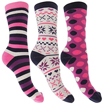 Womens/Ladies Thermal Cotton Rich Multi Patterned Socks (3 Pairs) (US 6-9 EUR 35-41) (Fuchsia) at Amazon Womens Clothing store: