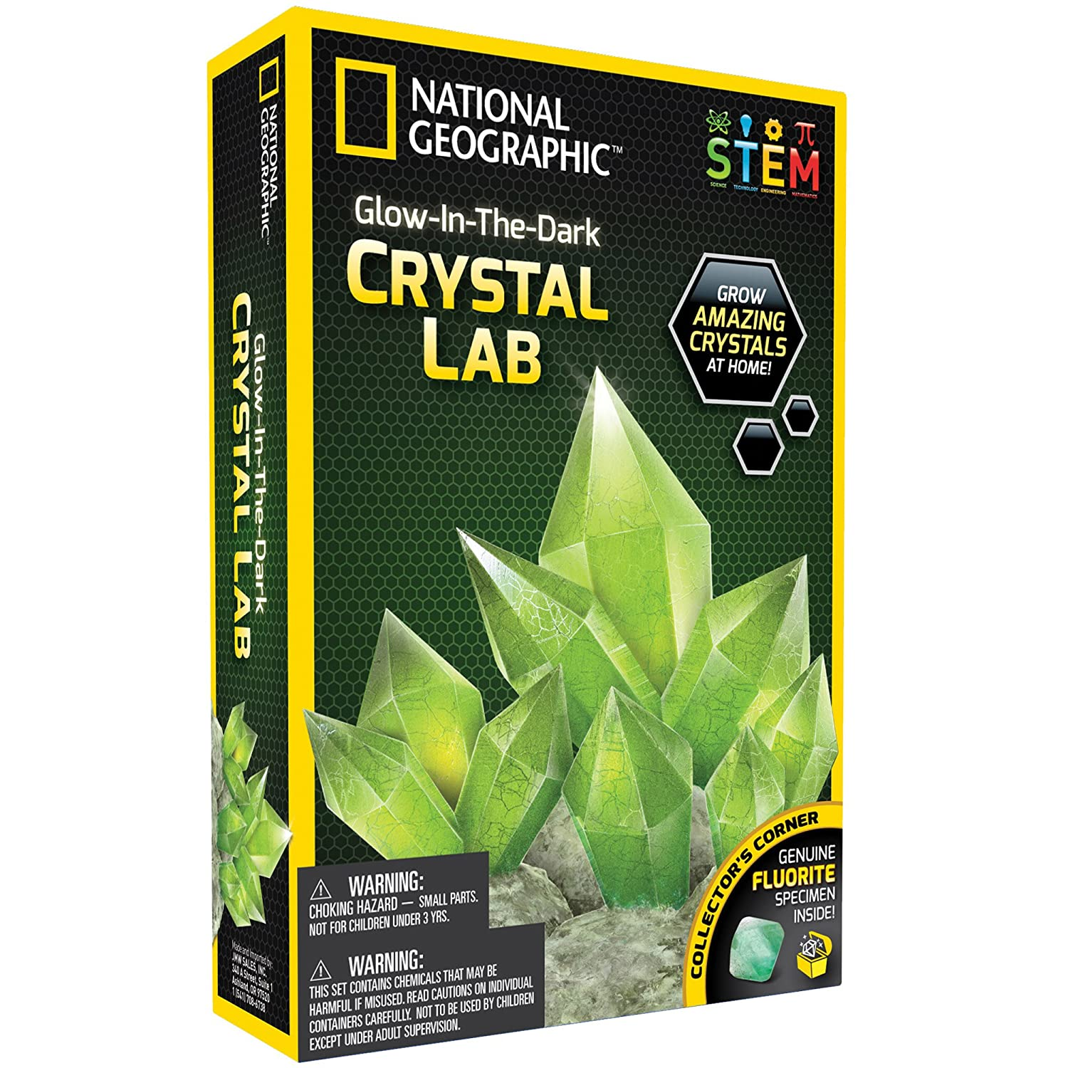NATIONAL GEOGRAPHIC Glow-in-the-Dark Crystal Growing Lab - DIY Crystal Creation - Includes Real Fluorite Crystal Specimen