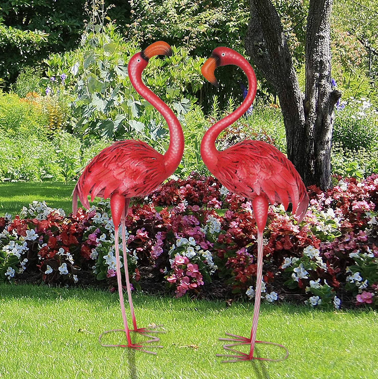 CYA-DECOR Flamingo Garden Statues and Sculptures Outdoor Metal Birds Yard Art for Home Patio Lawn Pond Flowerbed, 1 Pair