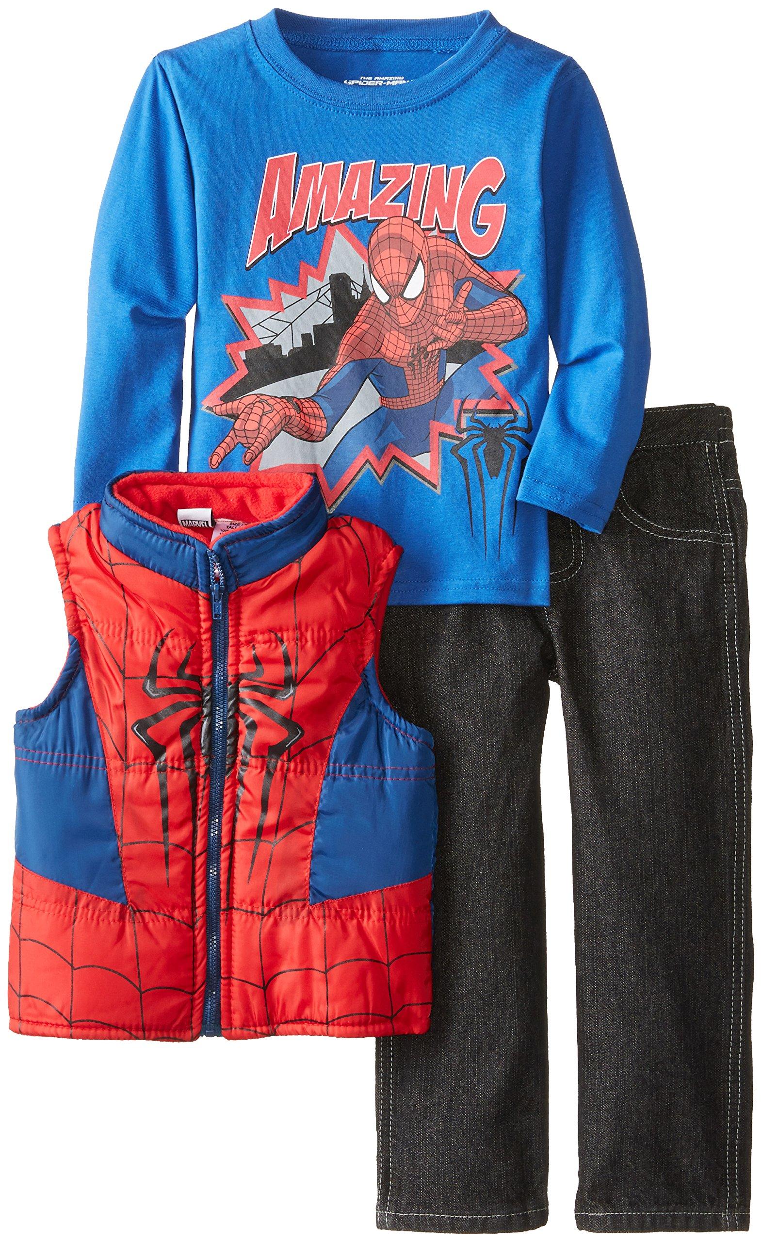 Marvel Little Boys' Spiderman 3 Piece Nylon Vest Set, Red, 6