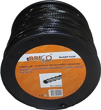 Bricoferr BF102R Hilo para desbrozadora (3 mm x 168 metros, diente de sierra): Amazon.es: Bricolaje y herramientas