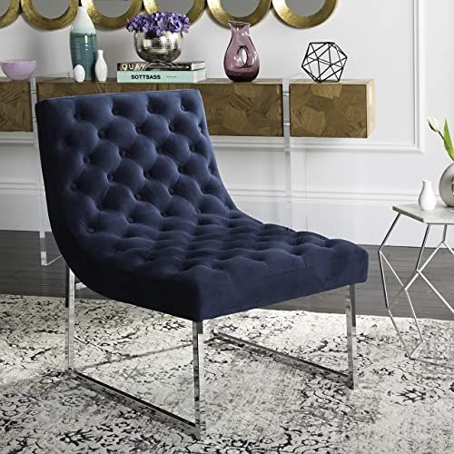 Safavieh Home Collection Hadley Navy Velvet Tufted Accent Chair