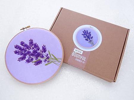 Lavender Embroidery Kit Wildflowers Embroidery Diy Hoop Art Kit