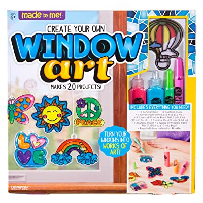 Made By Me Create Your Own Window Art by Horizon Group USA, Paint Your Own Suncatchers. Kit Includes 12 Pre-Printed Suncatchers + DIY Acetate Sheet, Window Paint, Suction Cups, & More, Assorted Colors: Toys & Games