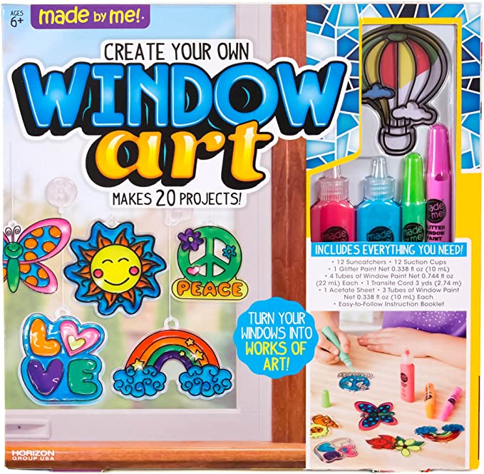 Amazon.com: Made By Me Create Your Own Window Art by Horizon Group USA, Paint Your Own Suncatchers. Kit Includes 12 Pre-Printed Suncatchers + DIY Acetate Sheet, Window Paint, Suction Cups, & More, Assorted Colors: Toys & Games