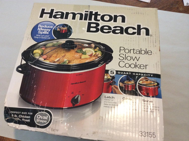 Hamilton Beach 040094331550 5 Quart Portable Oval Slow Cooker, Red