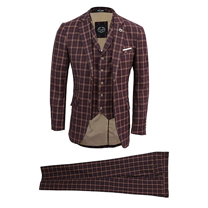 22cde732426 Mens Vintage Prince of Wales Check Maroon Plum Tailored Fit 3 Piece Suit