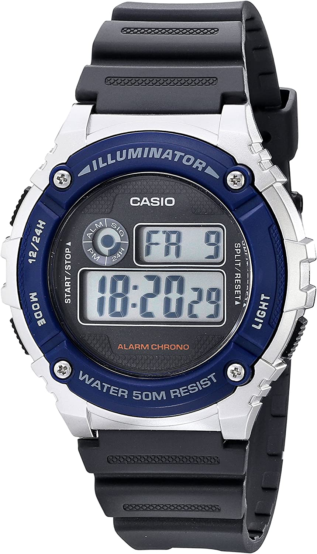 Casio Unisex W-216H-2AVF Illuminator Watch With Grey Resin Band