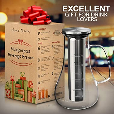Cold Brew Coffee Maker - Glass Cold Brew Maker Pitcher 52 oz - Iced Coffee Maker Brewer Kit - Works Even as Large Cold Press Coffee Maker Pot or Hot Iced Tea Maker Infuser Carafe - Coffee Lovers Gift
