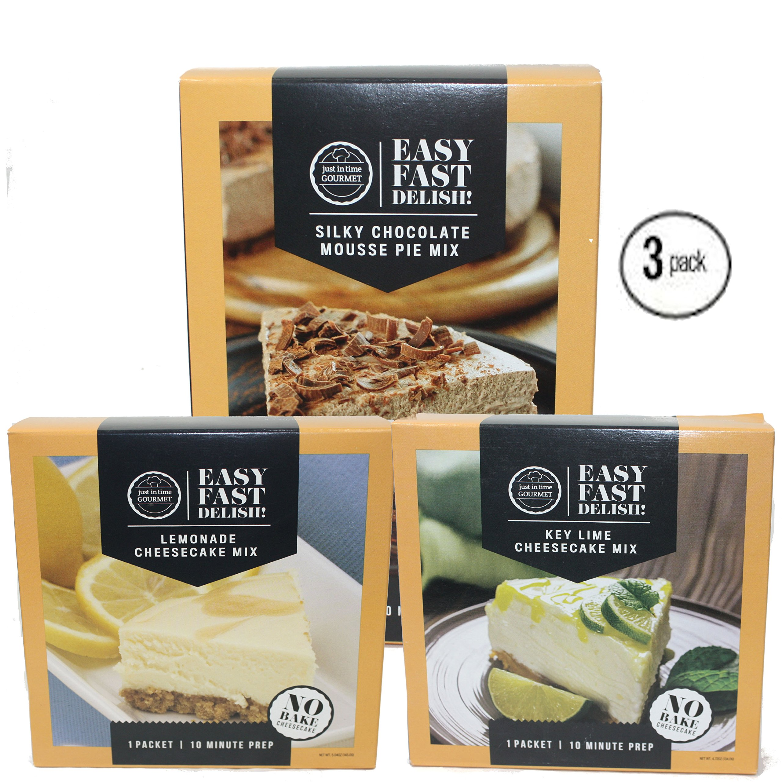 Just In Time Gourmet Silky Mousse Pie Mix | Lemonade Cheesecake Mix | Key Lime Cheesecake Mix BUNDLE 3 Pack