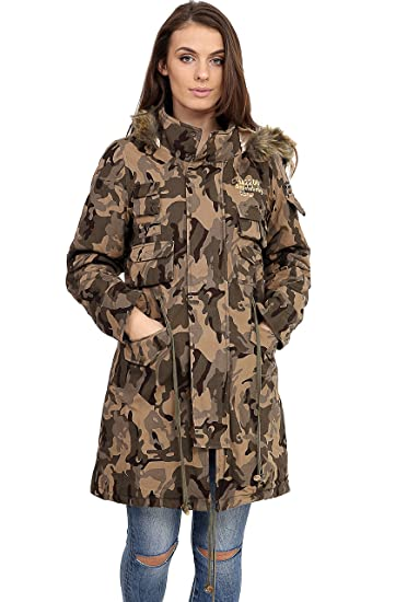 b64f4aca35593 Angelababy Women's Camo parka jacket Ladies Military Army Parka Coat Long  Hood Jacket: Amazon.co.uk: Clothing