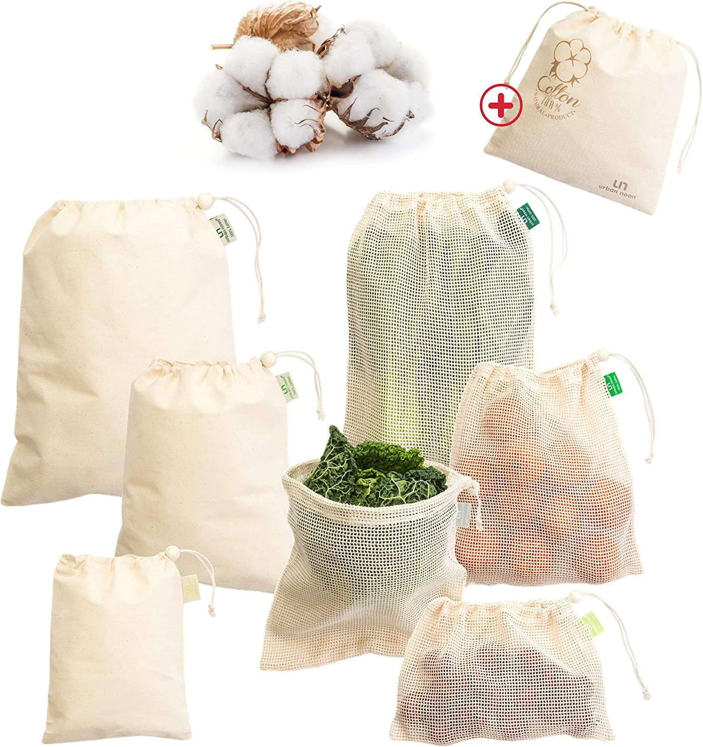 Reusable Produce Bags - 8 Pack Organic Cotton Muslin & Mesh Produce Bags with Drawstring, Bead, Tare Weight - for Grocery Shopping & Storage - Washable Strong Net Bags for Vegetables
