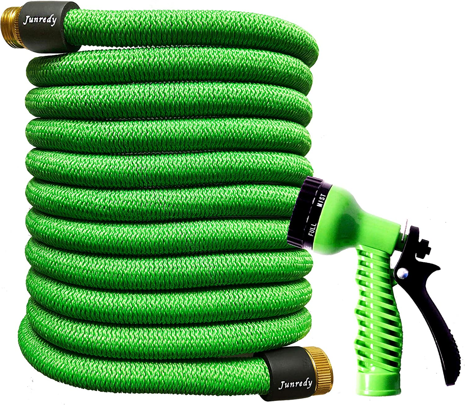 "Junredy 50ft Garden Hose Expandable Water Hose - Durable 3750D Fabric | 3/4"" Metal Connectors with Protectors 