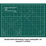 DUVERRA Professional Self-Healing 5 Layered Double Sided Durable Non-Slip PVC Cutting Mat -A4 (Green, 11 x 8 Inch/29 x 21 cm)
