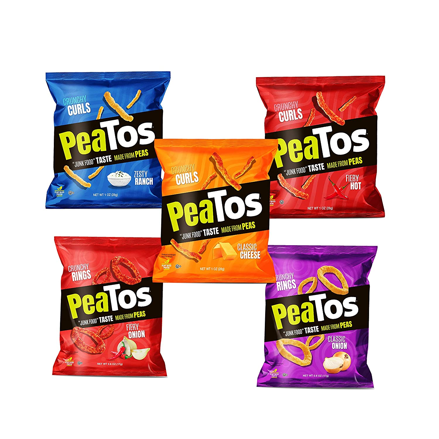 Peatos Crunchy Puffs Snacks, Party Mix Variety Pack, .6-1 Ounce (15 Count), Junk Food Taste, Made from Peas, Bold Flavors, 4g Protein and 3g Fiber, Pea Plant Protein Snack