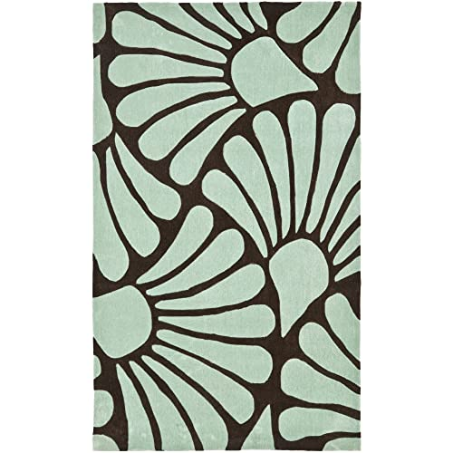Safavieh Modern Art Collection MDA613A Handmade Contemporary Floral Brown and Blue Polyester 5 x 8 Area Rug