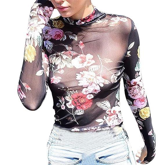 Rose Imprimir Blusa Transparente,Longra ❤ Mujer Transparente Tul Tapas Mangas Largas Malla Blusa