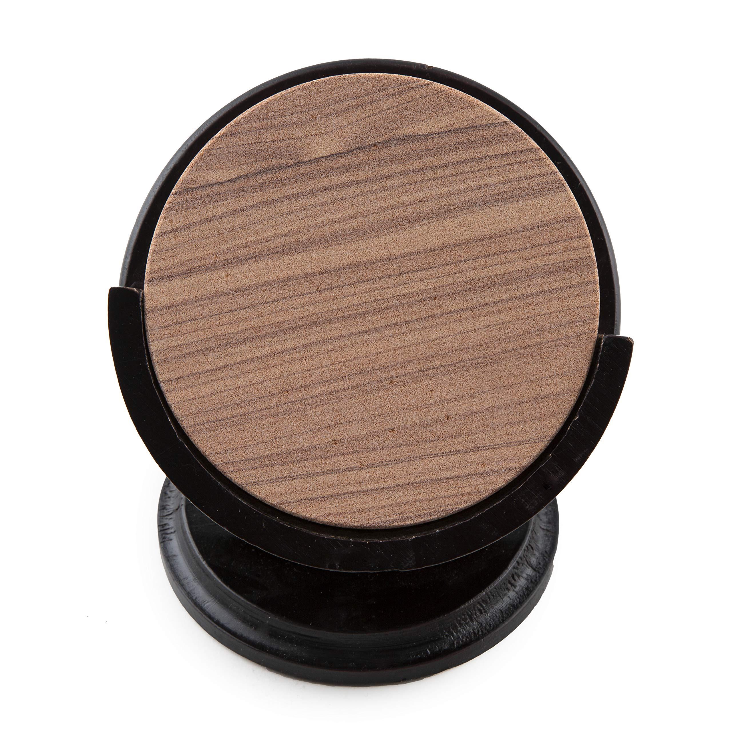 Thirstystone TS6-H13 Sandstone Wood Coaster and Holder, 4 inch round, Cinnabar w/Pedestal Hldr