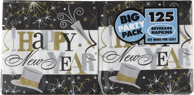 Amscan 125 Count Elegant New years Celebration Big Party Pack Beverage Napkins, Multicolor