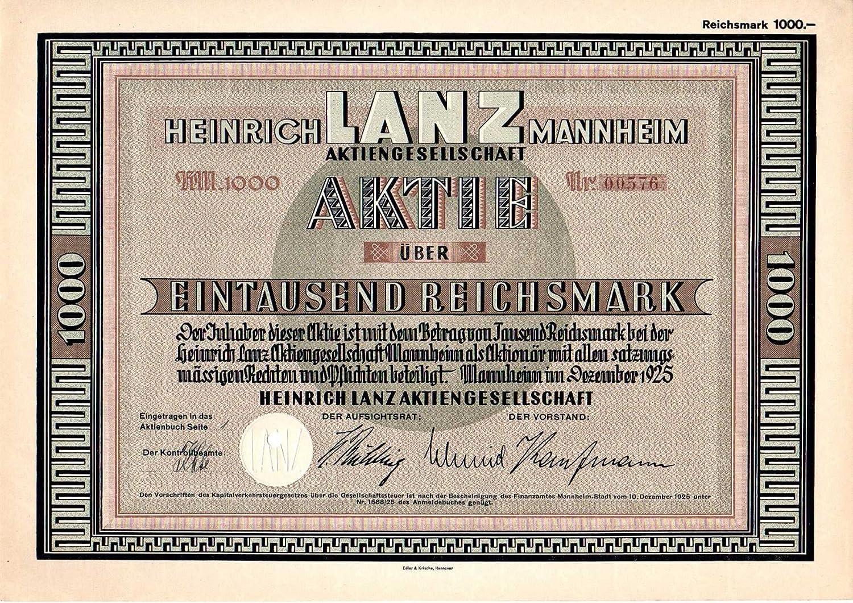 DAS WEIHNACHTSGESCHENK  Älteste Aktie der Heinrich Lanz AG von 1925 (Art deco Design)