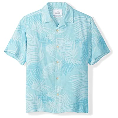 Amazon Brand - 28 Palms Men's Relaxed-Fit Silk/Linen Tropical Leaves Jacquard Shirt: Clothing