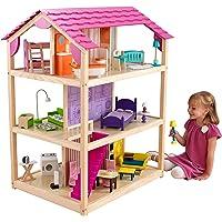 KidKraft 65078 So Chic Puppenhaus aus Holz mit Zubehör für 30 cm große Puppen mit 46 Accessoires und 3 Spielebenen