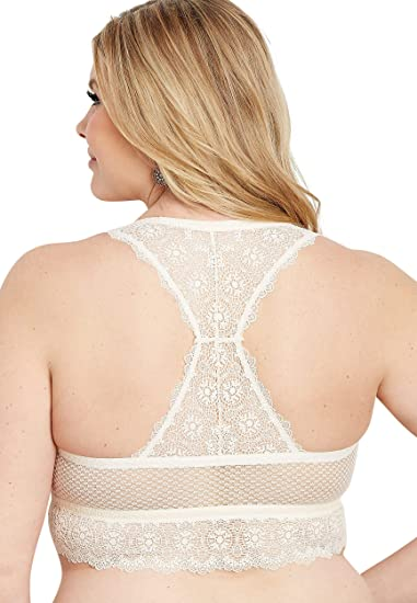 03487bbd71c maurices Women s Plus Size Knit Lace and Mesh Racerback Bralette at Amazon  Women s Clothing store
