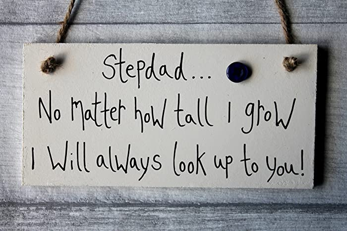 MadeAt94 Fathers Day Birthday Gifts Personalized Wooden Sign Best Stepdad No Matter How Tall I Grow